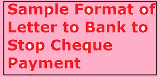 payment letter format sle format of letter to bank to stop cheque payment letter