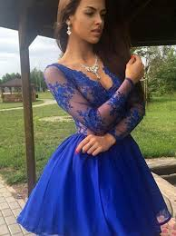 royal blue dress buy a line v neck sleeves royal blue homecoming dress