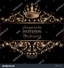 Royal Crown Home Decor Vintage Gold Invitation Card Black Background Stock Vector