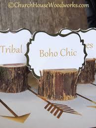 boho chic rustic cedar place card holders tribal party church