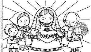 immaculate heart of mary and the most holy rosary coloring page