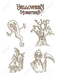 halloween monsters spooky cartoon creatures set royalty free
