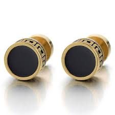 earrings for men black enamel gold circle stud earrings for men women cheater