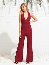 plunging jumpsuit crisscross open back back plunging jumpsuit sr store