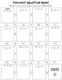 two step equation maze answer key tessshlo