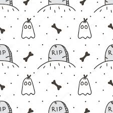 cute halloween ghost pictures spooky halloween seamless pattern background with tombstone and
