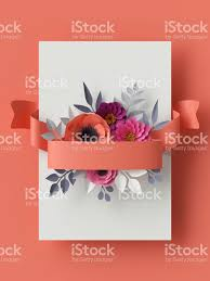 3d render abstract paper flowers vertical floral background coral