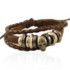 bracelet skull images Braided leather bracelet bangle punk rock skull wristband skull jpg
