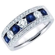 Diamond Sapphire Wedding Ring by Ct Ladies Blue Sapphire Wedding Band Ring
