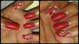 matte red nails with abstract accent designs youtube
