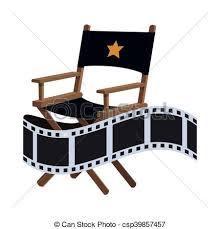 chaise de cinéma directeur chaise conception cinéma plat clipart