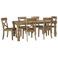 7 piece solid pine dining table set by signature design by ashley