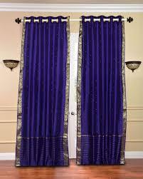 Sari Curtain Purple Eyelet Ring Top Voile Net Curtain Panel Voiles Purple