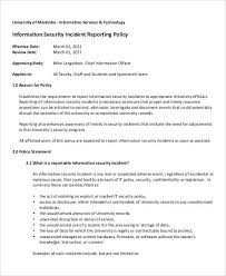 Computer Security Incident Report Template by 31 Incident Report Exles