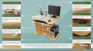 Schreibtisch 55 Cm Tief Schreibtisch Kiefer Massiv Vollholz Weiß Lackiert Junco 197