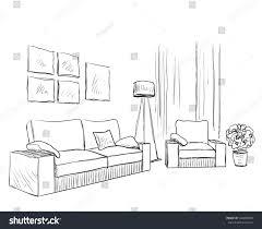 sketch room modern interior room sketch hand drawn stock illustration