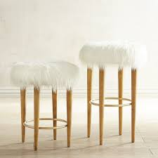 Kitchen Stools by Kate Faux Fur Bar U0026 Counter Stool Footrest Birch And Stools