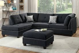 Upholstery Sectional Sofa Poundex F6974 3 Pc Martinique Collection Black Linen Like Fabric