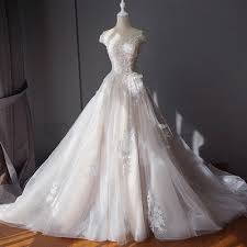 Wedding Dress With Train Lace Bridal Ball Gown With Train A Line Wedding Dress With Tulle