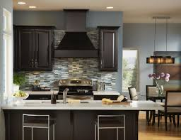 picture of kitchen design dark cabinets and grey wall awesome