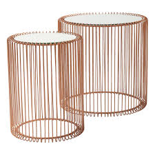 Wire Side Table Set Of Copper Wire Side Tables By I Retro