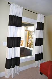 black and white striped curtain in horizontal design for um window