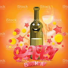 birthday wine happy birthday concept card with wine bottle character stock