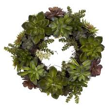 succulent wreath nearly 20 in h green succulent wreath 4798 the home depot