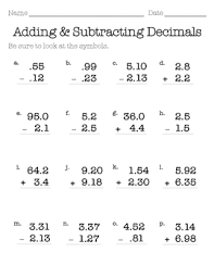 addition with decimals worksheets worksheets