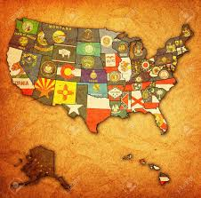 State Flags Of Usa State Flags On Old Vintage Map Of Usa With State Borders Stock