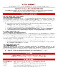oracle dba resume database administrator resume