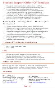 resume template student student support officer cv template tips and cv plaza