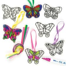 butterfly mini suncatchers glass effect acrylic decorations 7cm
