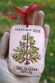 personalized hand stamped christmas tree copper family keepsake
