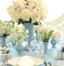 White Rose Centerpieces For Weddings by Blue And White Peony Centerpieces And Table Settings