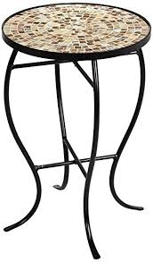 Mosaic Accent Table Of Pearl Mosaic Black Iron Outdoor Accent Table