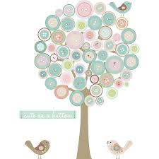 button tree fabric wall sticker by littleprints