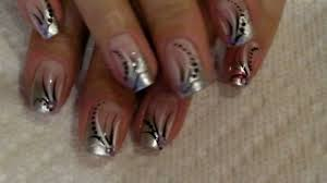 nail art tutorial silver french with black and white stripes 54