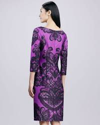 david meister boatneck printed sheath dress purple in purple lyst