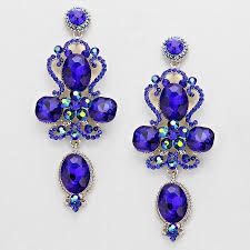 royal blue earrings royal blue floral teardrop earring pageant earring prom earrings