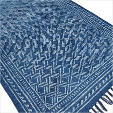 indigo blue cotton block print area accent dhurrie rug hand woven
