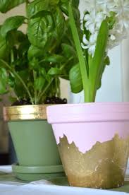 gold foil flower pots