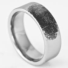 titanium wedding band reviews 8mm personalized tungsten fingerprint ring pipe cut band by ring