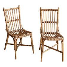 vintage rattan boho chic dining chairs a pair chairish