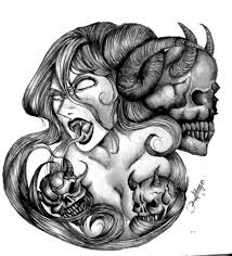 black and grey scary demon with three skulls tattoo design by