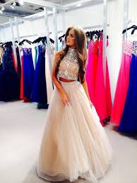 high neck two pieces a line prom dresses long prom dresses cheap