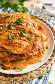 korean food photo maangchi s persimmon punch maangchi com cheesy kimchi pancake omnivore s cookbook