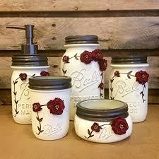 Burgundy Bathroom Accessories by Amazon Com 5 Piece Ivory And Burgundy Vintage Mason Jar Vanity