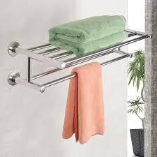 stainless steel double towel rack wall mount bathroom shelf bar
