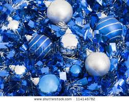 blue silver balls on ribbon stock photo 114146782